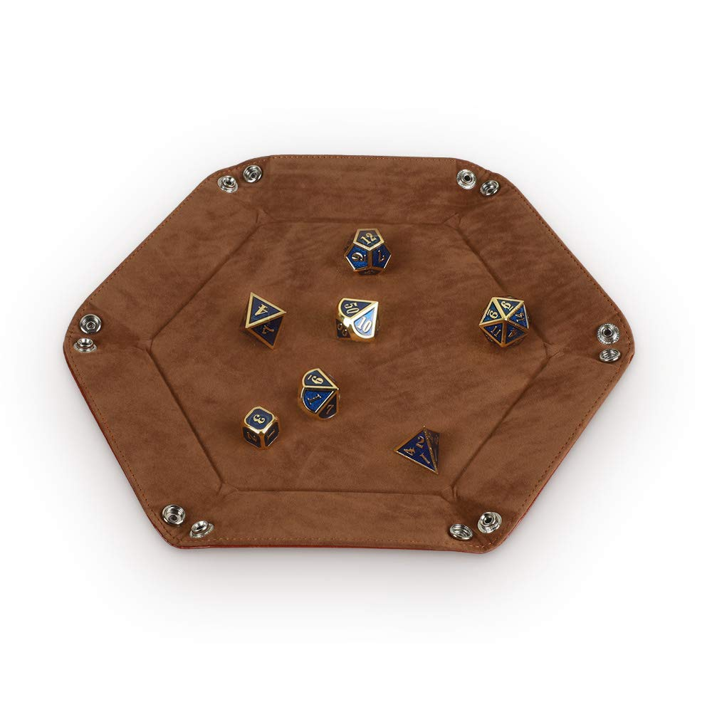 Dice Tray Metal Dice Rolling Tray Holder Storage Box for RPG DND Table  Games, Double Sided Folding Thick PU Leather and High-Class Velvet Camel