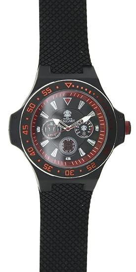 Relojes Calgary Hudson Peak. Reloj para Caballero de colección avantura. Correa en Color Negro, Esfera Color Rojo y Negra: Amazon.es: Relojes