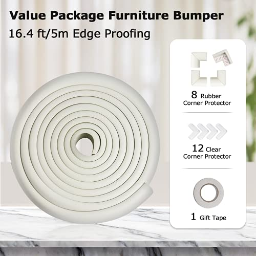 51Vbd5oVeKS Baby Proofing Edge Corner Protector 16.4 ft Edge + 20 Corners, Momcozy Table Bumper Guard, Soft Rubber Foam Guard Pre-Taped Baby Safety Corners Cushion,Heavy-Duty, White    Product Description