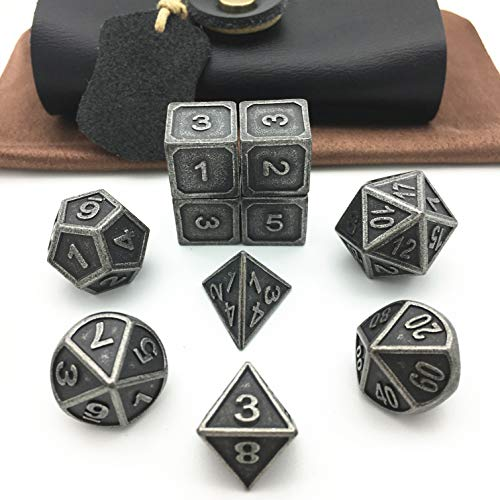 Momostar RPG Solid Metal Polyhedral Dice for Dungeons and Dragons, Pathfinder and Other Games. (Set of 10+ Black PU Box/Old Rust Silver)