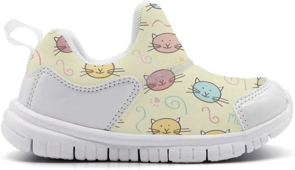 ONEYUAN Children Cat Face Kitten MOEW Yellow Background Kid Casual Lightweight Sport Shoes Sneakers Walking Athletic Shoes