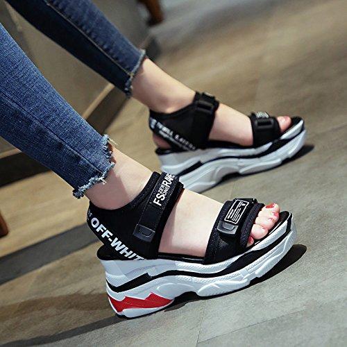Aumentar Estudiante Zapatos Zapatos Universal Nueva de Moda Cuña Ocasional negro Sandalias Grueso Fondo QQWWEERRTT Verano Estudiante de Plataforma 6OPqfn0