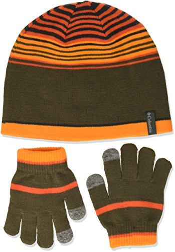 Striped Gloves Nylon (Columbia Kid's Youth Hat and Glove Set Accessory, State Orange, One Size)