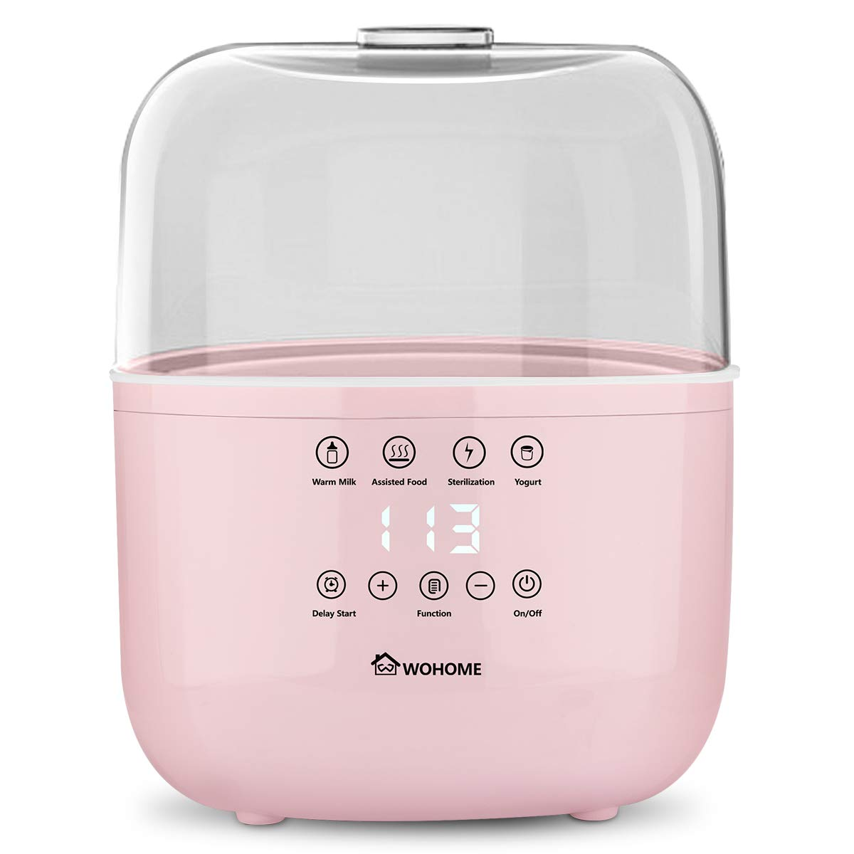 Bottle Warmer Sterilizer, WOHOME Baby Bottle Warmer Quickly Heating Warm Milk Assisted Food with LED Display and Delay Start Function, Pink