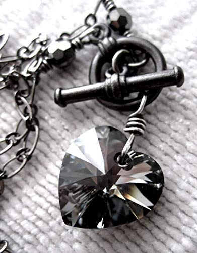Swarovski Toggle - Black Crystal Heart Pendant Necklace with Swarovski Crystal, Goth Gothic Valentines Gift
