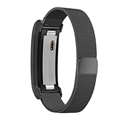 Fitbit Alta Band, UMTETE Fully Magnetic Closure Clasp Mesh Loop Milanese Stainless Steel Replacement Accessory Bracelet Strap with Metal Frame for Fitbit Alta Fitness Tracker BLACK