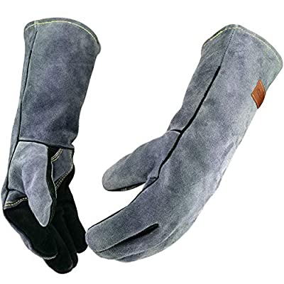 WZQH 16 Inches, 932℉, Leather Forge Welding Gloves, with Kevlar Stitching Heat/Fire Resistant, Mitts for BBQ, Oven, Grill, Fireplace, Tig, Mig, Baking, Furnace, Stove, Pot Holder, Animal Handling Glove.Black-gray