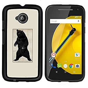 TECHCASE---Cubierta de la caja de protección para la piel dura ** Motorola Moto E ( 2nd Generation ) ** --Negro Oso Grizzly Rugido del cartel del vintage