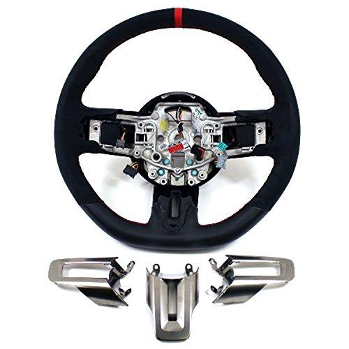 2015-2017 Mustang & GT350R Steering Wheel Suede & Leather - Red ()