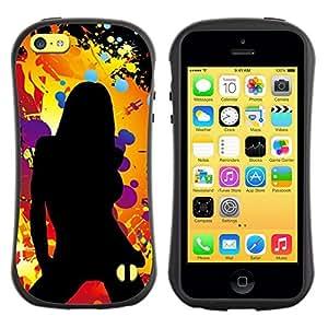 "Pulsar iFace Series Tpu silicona Carcasa Funda Case para Apple iPhone 5C , Silueta de la mujer Naranja Negro"""