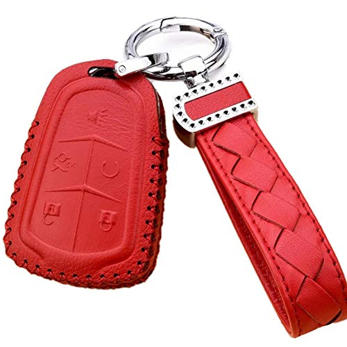 Womens Red Leather Car Remote Key Fob Holder Case Cover Shell with Diamond Braided Key Chain & Key Rings for 5 Buttons New Cadillac ESV Escalade GTS CTS XTS SRX ATS XT5 CT6 Auto Accessories Gift