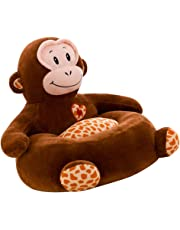 D DOLITY Kids Plush Sofa Seat Cover Lovely Animal Shape Armchair Cover Kids Toddler Bean Bag Chair - Monkey, as described