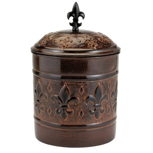 Old Dutch Versailles Cookie Jar with Fresh Seal Cover, 4-Quart Fleur De Lis Metal