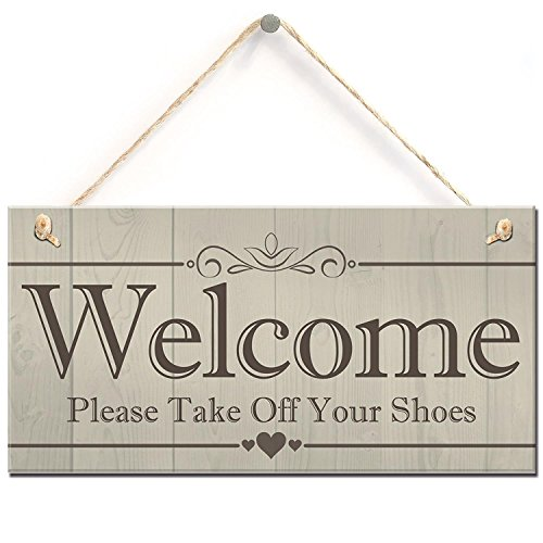 Meijiafei Welcome Please Take Off Your Shoes Hanging Plaque Sign House Porch Decor Gift 10