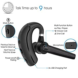 Bluetooth Headset, Wireless Earpiece Bluetooth for Phones, In-Ear Piece Hands-Free Headphone Office Phone Headsets w/ Mic, Noise Cancelling for Driving