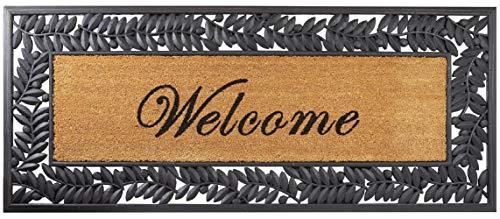 Envelor 818161021150 Welcome Door Fleur De Lis Rubber Indoor Outdoor Shoe Scraper Entrance Floor Mat 18 x 30 Inches Doormat, Leaves 24 x 57 Inches