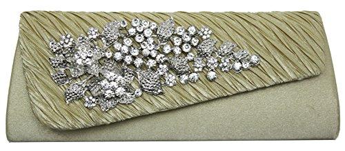 HotStyleZone - bolso de mano, con broche  de brillantes de flor, para velada o fiesta dorado