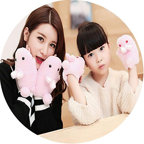 Small-shop-gloves Parent Child Cute Cartoon Rabbit Clamshell Flip Half Finger Mittens Winter Women Girls Knit Plush Warm Cashmere Glove S77,Pink,6-15 Years Old