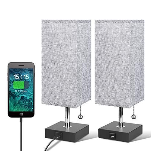 (USB Table Lamp, Grey Bedside Desk Lamp,Nightstand Lamp with USB Fast Charging Port,Wooden Base,Unique Lampshade,Convenient Pull Chain, Perfect for Bedroom Living Room (Pack of)