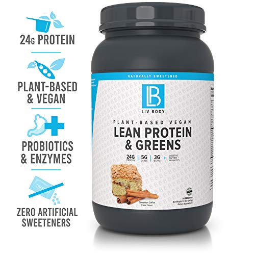 LIV Body | Plant-Based Vegan Lean Protein + Greens | Digestive Enzymes + Probiotics | 24g of Protein, 5g of Carbs & 3g of BCAA | 3 Great Flavor Choices (Cinnamon Coffee Cake)