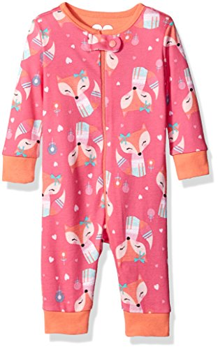 The Children's Place Girls' Printed Pajama Stretchies, Fox/Tropical Rose, 6-9 Months