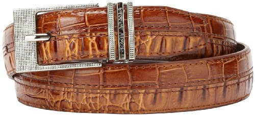 Stacy Adams Men's 30mm Hornback And Croco Embossed Belt, Cognac, 32