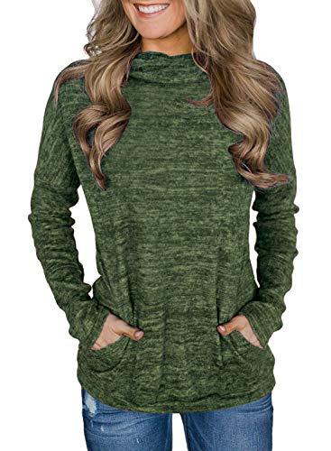 Unidear Womens Cowl Neck Blouses Tunic Tops Burgundy Plaid Sweatshirts Contrast Wrap Hooded Pullovers Army Green ()