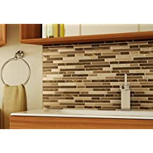 Aurora Peel and Stick Wall Mosaic Tiles , Marbled Chocolate (Pack of 8)
