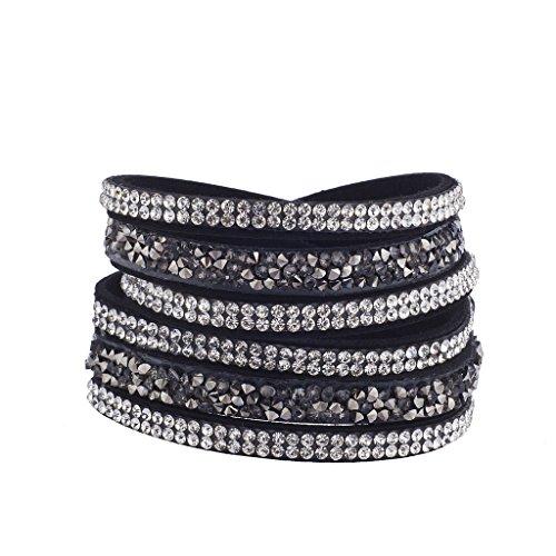 Lux Accessories Black Navy Blue Sticker Stone Stone Magnetic Wrap (Magnetic Wrap Necklace Bracelet)