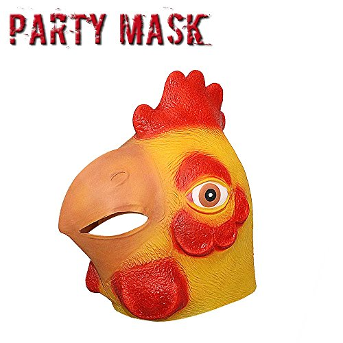 Monstleo Deluxe Novelty Halloween Costume Party Latex Animal Head Mask Chicken (Chicken Head Mask)