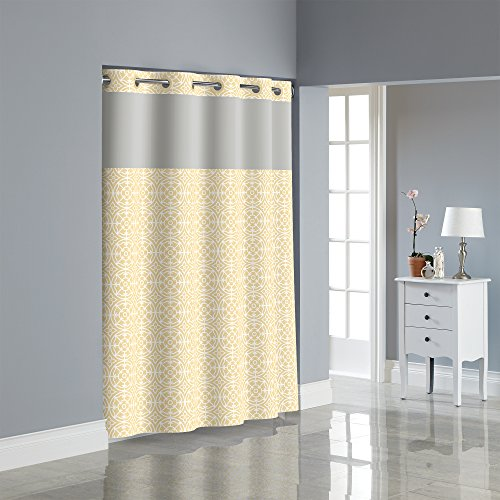 Hookless RBH40MY060 Medallion Shower Curtain with PEVA liner - Yellow Medallion Snap