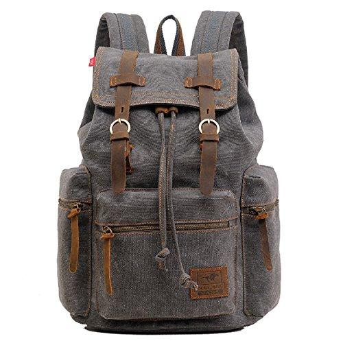 Alando vintage Canvas Rucksack Damen Herren Rucksäcke Retro Schulrucksack Backpack Daypack für Uni, Wandern, Outdoor Sport, freizeit, Einkaufen mit der großen Kapazität (Grau)