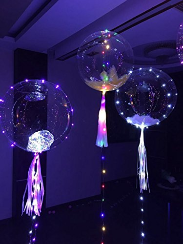 Led Bobo Balloon Light, 18 Inches Fillable Clear Led Light Up Balloons with Helium ,Premium Flashing Party Decorative Balloons for Christmas,Halloween, Party and Wedding (Self Made Halloween Decoration)