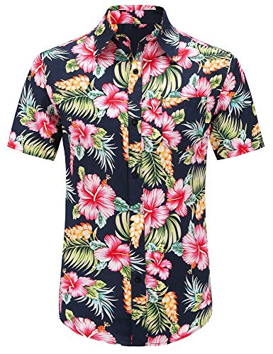 PEGENO Men's Flower Casual Button Down Short Sleeve Hawaiian Shirt (Large, 01 Red Hibiscus-Dark Blue)
