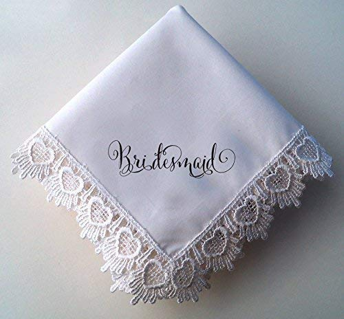 (Lace Wedding Handkerchief for Bridesmaid Gift, rayon Venice lace with Hearts wedding favor)