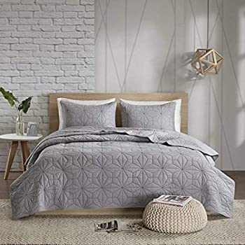 Image of AD 3 Piece Chic Grey King/Cal King Coverlet Set, Geometric Reversible Themed Bedding Diamond Chevron Stylish Trendy Modern Pretty Casual Classy Lightweight Beautiful Crisp Gray Solid, Cotton Home and Kitchen