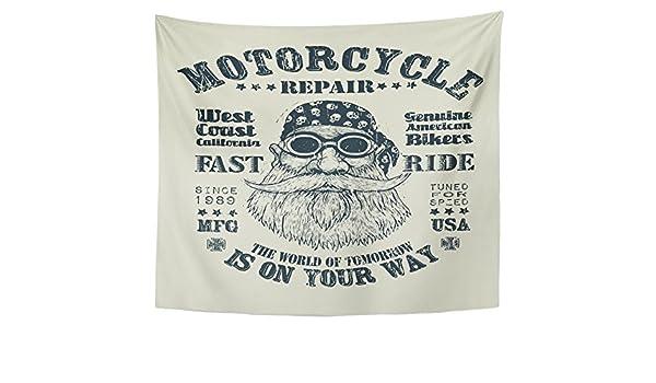 Emvency Tapiz para Colgar en la Pared de Vacaciones, Retro para reparación de Motocicleta, de Tejido de poliéster, para decoración del hogar, Sala de Estar, ...