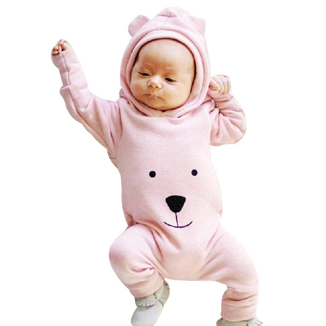 Christmas Newborn Infant Baby Boy Girl Hooded Romper Bodysuit, Cute Cartoon Bear Jumpsuit Outfit Clothes Set (Pink, 12-18 Months)