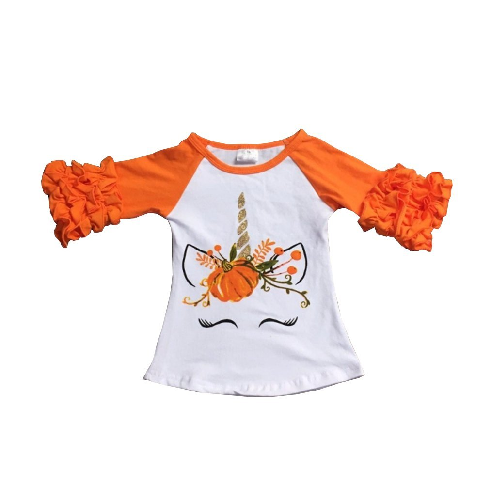 Baby Girls Halloween Long Sleeve Pumpkin Printed Ruffles T-Shirt Tops Clothes Outfits (3-4T, Orange) by One Persent