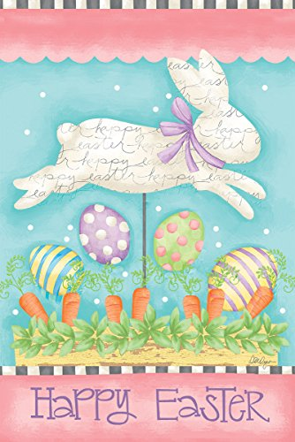 Bunny Mini Flag - Lang - Mini Garden Flag - Easter Bunny, Exclusive Artwork by Lori Lynn Simms - All-Weather, Fade-Resistant Polyester - 12