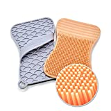 Silicone Sponge and Scrubber for dish, kitchen and bathroom cleaning – Extra Size Brush, Antibacterial, Heat Resistant, Odor and Mold Free | 2 Pack Coral/Gray