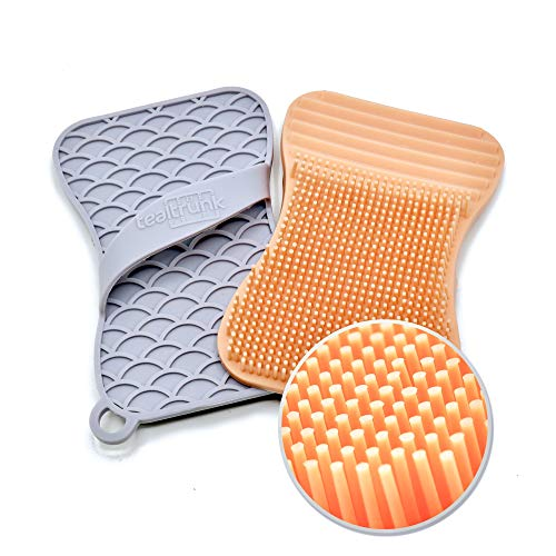 Silicone Sponge and Scrubber Multipurpose Household Kitchen and Bathroom Cleaning - Eco-Friendly, Heat Resistant, Odor and Mildew Free (Coral/Gray)