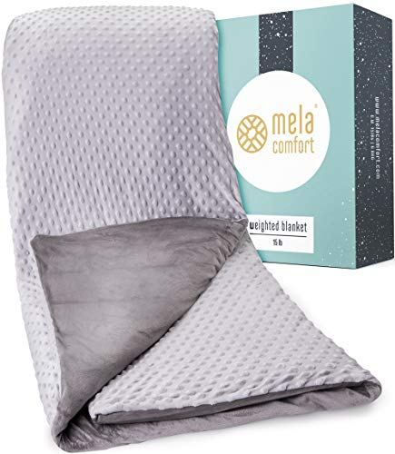 Mela Comfort Weighted Blanket - 15LBS - Adult Queen Size - Supports Healthy...
