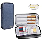 Teamoy Knitting Needles Case(up to 10-Inch), Travel Organizer Storage Bag for Circular and Straight Knitting Needles, Crochet Hooks and Knitting Accessories, Dark Blue--NO ACCESSORIES INCLUDED