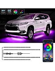 MAODANER Exterior Car Underglow LED Strip Lights, 16 Million Colors Neon Accent Lights Kit, Multicolor RGB Sound Actived Underbody System Lights - Wireless Bluetooth APP Control, DC 12-24V(2×47inch+2×35inch)