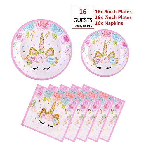 EXIJA Unicorn Party Supplies Set, 16 9inch Dinner Plates+16 7inch Dessert Plates+16 Napkins, Unicorn Plates and Napkins for Birthday Girls Party Favors,Serves 16