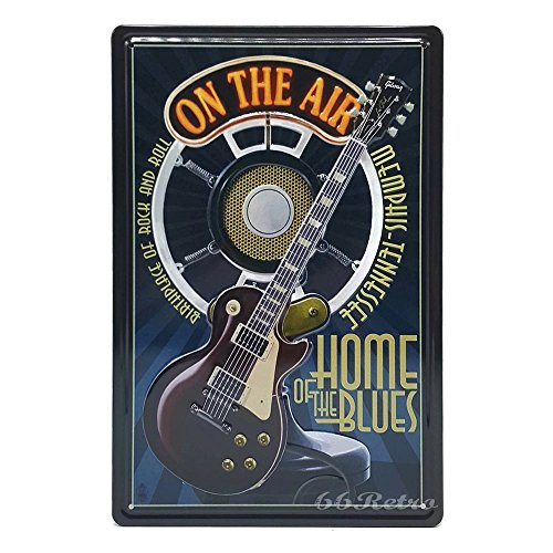66Retro Music On the Air, Home of the blues, Retro Embossed Metal Tin Sign, Wall Decorative Sign