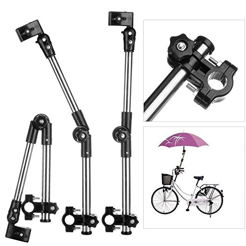 Flexzion Bicycle Umbrella Mount Holder Swivel Connector Handlebar Frame Stand Adjustable 2 Section Tube Handle for Bike Stroller Wheelchair Baby Chair