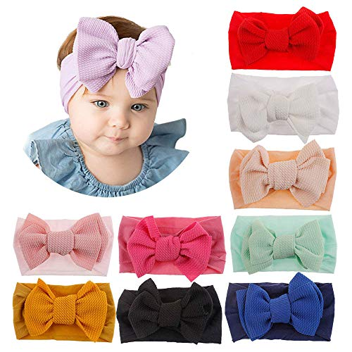 (Baby Toddler Elastic Headbands Girls Hairbands with Bow Knot Mixed Colors (10 Pack Bow Headands))