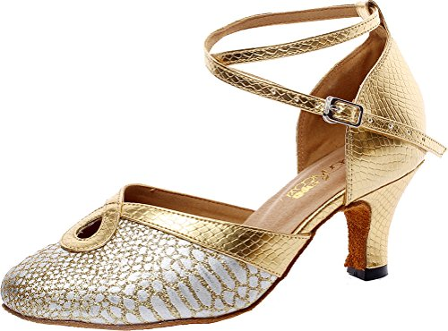 CFP Zapatillas de Danza de Poliuretano Para Mujer Dorado Dorado lvCfOFEY